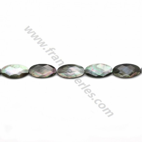 Gray mother-of-pearl faceted oval beads on thread 8x16mm x 40cm