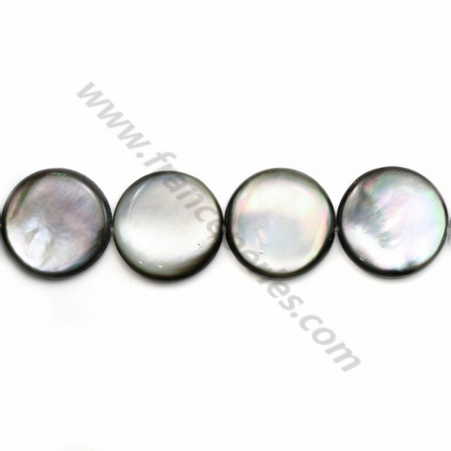 Gray mother-of-pearl bulged round beads on thread 20mm x 40cm