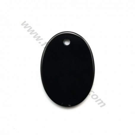 Pendant black agate oval 18*25mm x 1pc