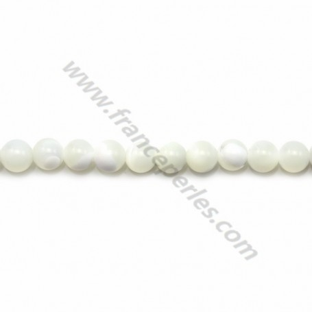White mother-of-pearl round beads on thread 3mm x 40cm
