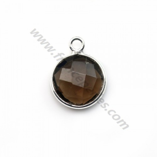 Faceted round smoky quartz set in sterling silver 11mm x 1pc