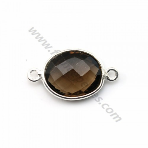 Faceted oval smoky quartz set in sterling silver 2 rings 10*12mm x 1pc