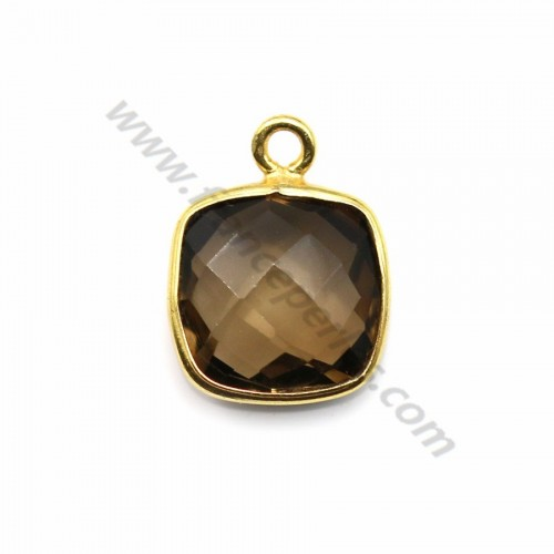 Faceted cushion cut smoky quartz set in gold-plated silver 11mm x 1pc
