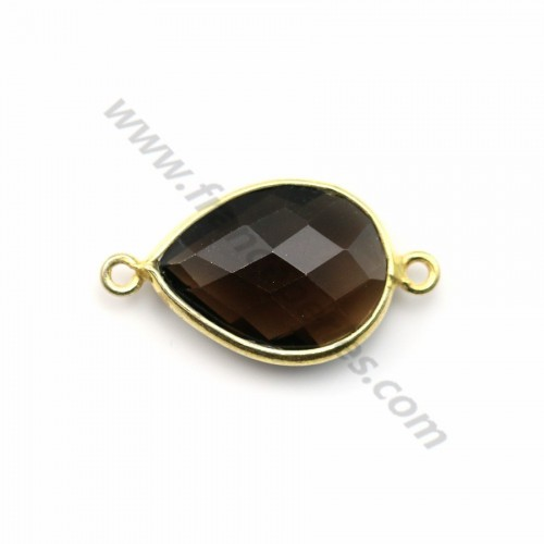 Faceted drop smoky quartz set in gold-plated silver 2 rings 13*17mm x 1pc