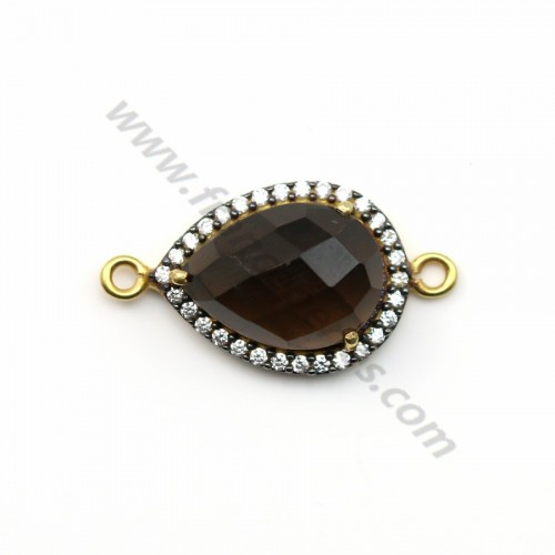 Faceted drop smoky quartz set in gold-plated silver with zirconium 13*17mm x 1pc