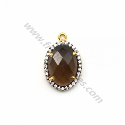 Faceted oval smoky quartz set in gold-plated silver with zirconium 13*17mm x 1pc