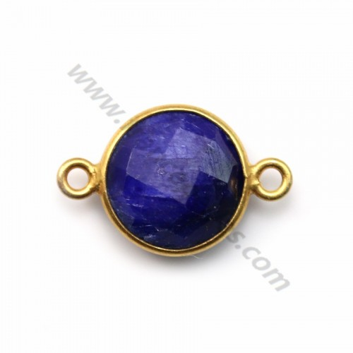 Round faceted treated blue gemstone set in gold plated silver 2 rings11mm x1pc