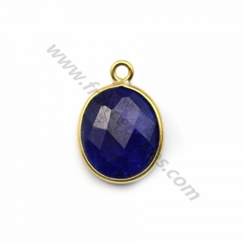 Oval treated blue gemstone set in gold-plated silver 11*13mm x 1pc