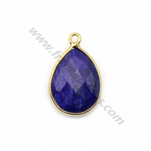 Drop-shape faceted treated blue gemstone set in gold-plated silver 13x17mm x 1pc