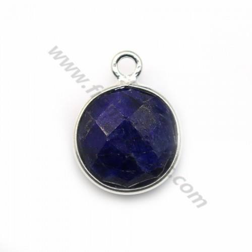 Round treated blue gemstone set in 925 sterling silver 11mm x 1pc