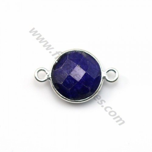 Round faceted treated blue gemstone set in sterling silver 2 rings 11mm x 1pc