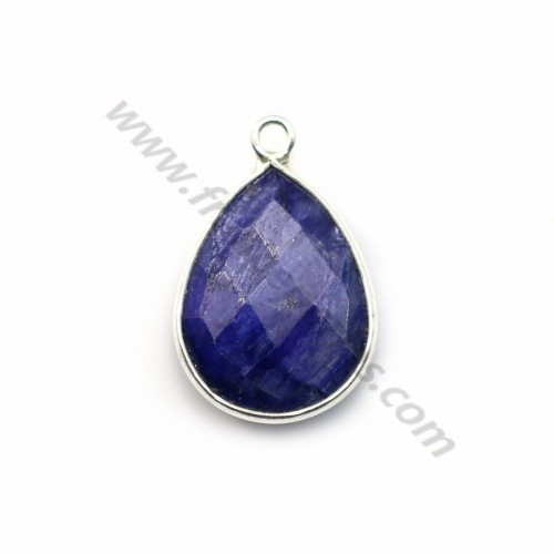 Drop-shape faceted treated blue gemstone set in 925 sterling silver 13x17mm x 1pc