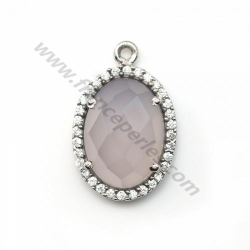 Calcédoine grise ovale sertie en argent 925 avec zirconium 13*17mm x 1pc