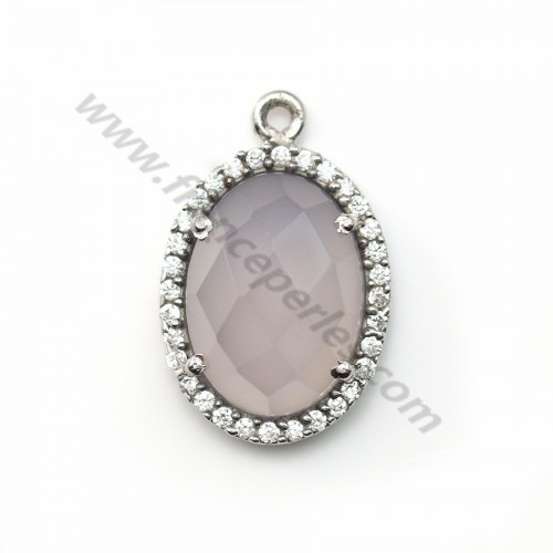 Faceted oval grey chalcedony set in 925 silver with zirconium  13*17mm x 1pc