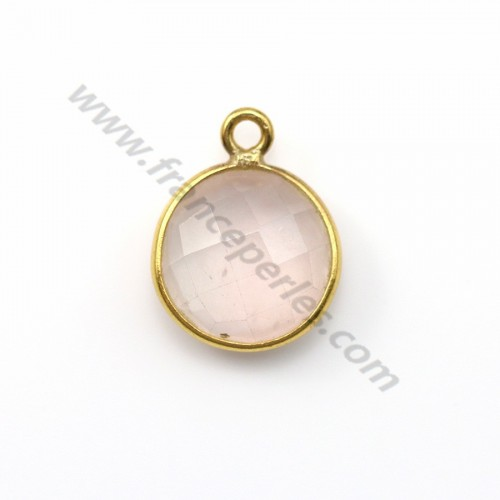 Faceted round rose quartz set in gold-plated silver 11mm x 1pc