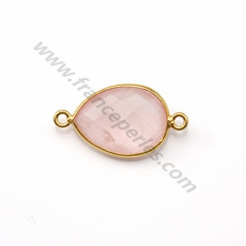 Faceted drop rose quartz set in gold-plated silver 2 rings 13*17mm x 1pc