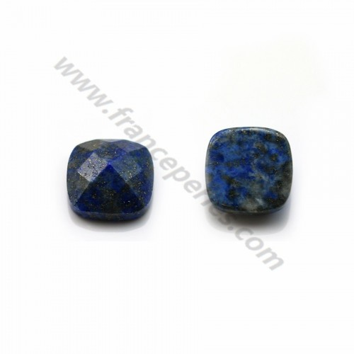 Cabochon lapis lazuli  faceted square 14mm x 1pc