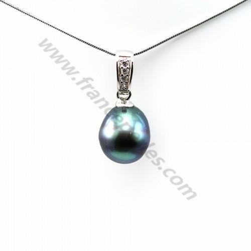Pendant tahiti pearl & straling silver 925 10.5x13mm x 1pc