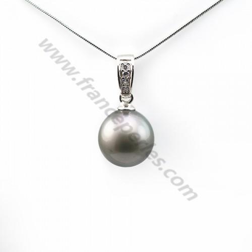Pendentif Perles Tahiti bélière Argent 925 12mm x 1pc