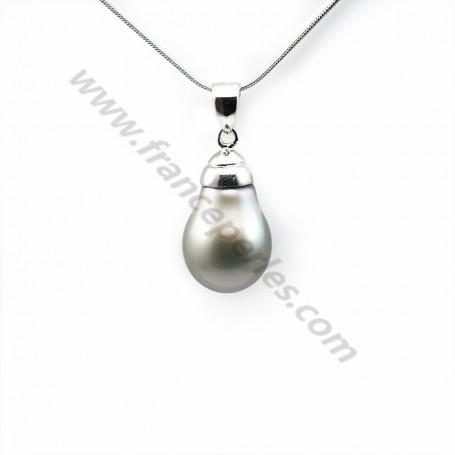 Pendant tahiti pearl & straling silver 925 12x19mm x 1pc