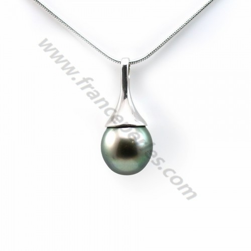 Pendant tahiti pearl & straling silver 925  9.6x21.6mm x 1pc