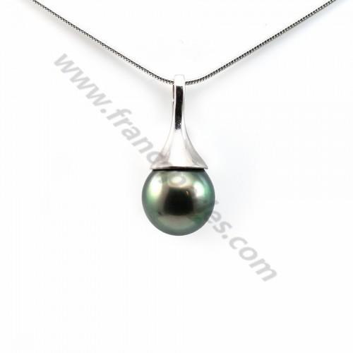 Pendant tahiti pearl & straling silver 925  10x21.9mm x 1pc