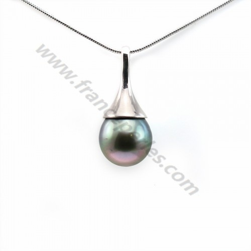 Pendant tahiti cultured pearl & sterling silver 925 9.77x21.1mm x 1pc