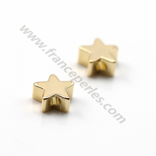 "Intercalary star stuck  by ""flash"" Gold on brass 3*6mm x 10pcs"