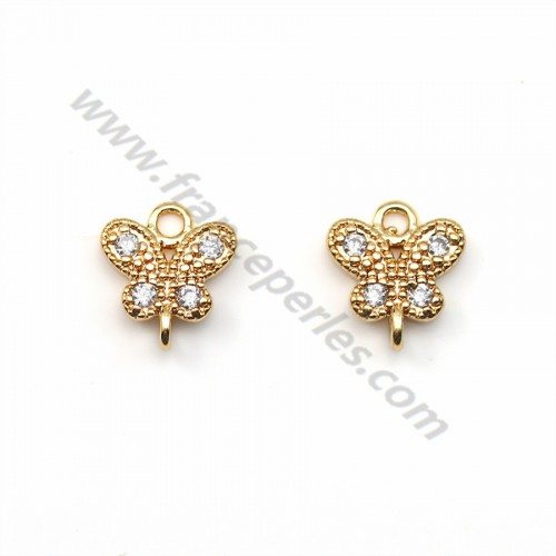 "Butterfly zirconium spacer plated ""flash"" gold brass 6.5*7.5mm x 2pcs"
