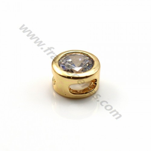 "Round zirconium spacer plated ""flash"" gold brass 5mm x 4pcs"