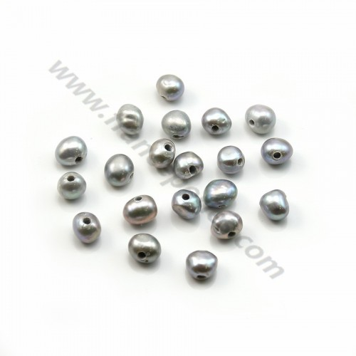 Grey baroque freshwater pearl  7-9mm with large drilling 1.9mm x 20pcs