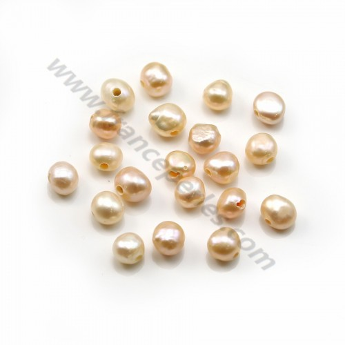 Salmon baroque freshwater pearl  7-9mm with large drilling 1.9mm x 20pcs