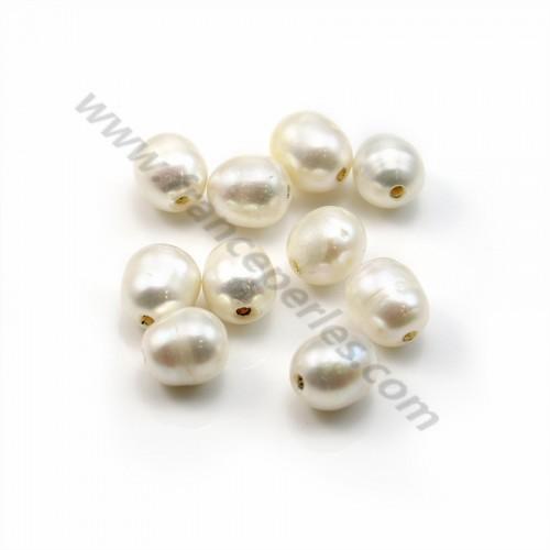 Perle d'eau douce blanche oval 8-9mm large perçage 1.5mm x 10pcs