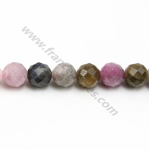 Rubies & sapphires faceted round beads on thread 7.5mm x 40cm