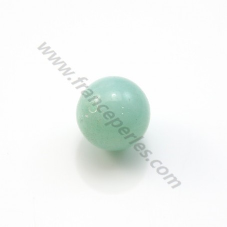 Amazonite, half drilled, round 10mm x 2pcs
