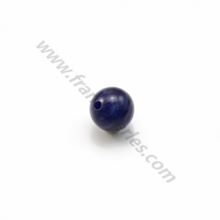 Sodalite, half drilled, round 6mm x 4pcs
