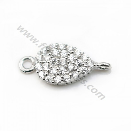 925 sterling silver charm flower & zirconium 8*13mm x1pc