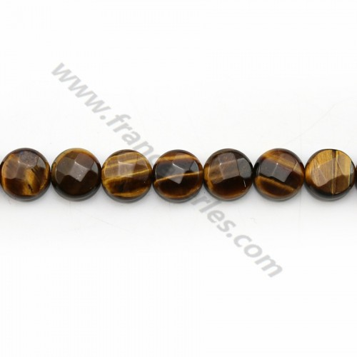 Yellow tiger eye flat round faceted 8mm x 40cm