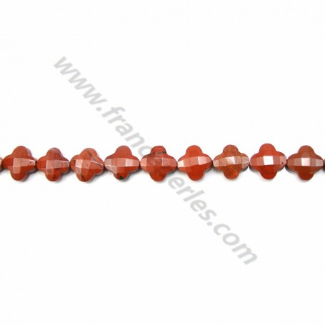Red jaspe clover faceted 13 mm X 40cm
