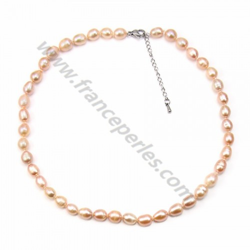 Simple Salmon Freshwater Pearl Necklace