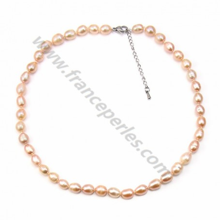 e12b487065e4e Simple Salmon Freshwater cultured Pearl Necklace