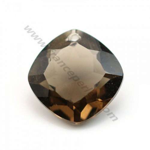 Pendant smoked quartz in the shape of rhombe faceted 16.5mm x 1pc