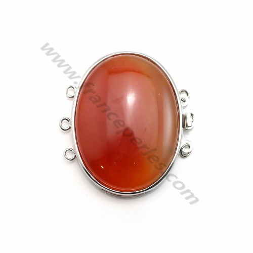 Clasp 3 rows with tinged orange 32*42mm x 1pc