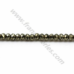 Pyrite rondelle facette 2*3mm x 38cm