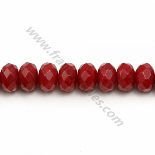 Jade Teinté Rondelle Facette rouge 5*8mm  X 40cm