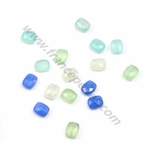 Rectangular blue chalcedony faceted 8*10mm x 1pc