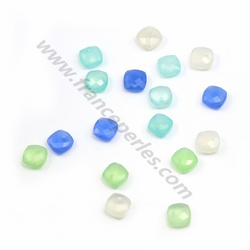 Pendant chalcedony faceted 10mm x 1pc