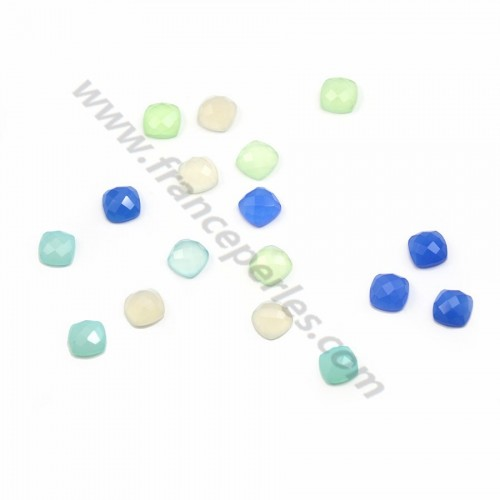Cabochon blue chalcedony squares faceted 10mm x 1pc