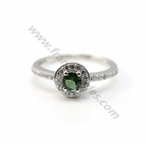 Green tourmaline ring 925 sterling silver and zirconium x 1pc