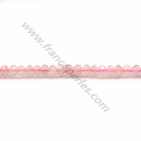 Pink quartz washer faceted 3*4mm x 40cm